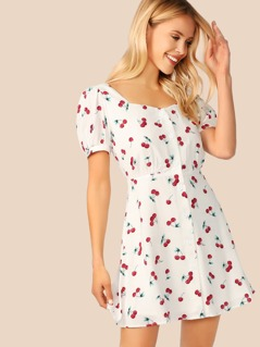 Button Front Puff Sleeve Flare Cherry Dress