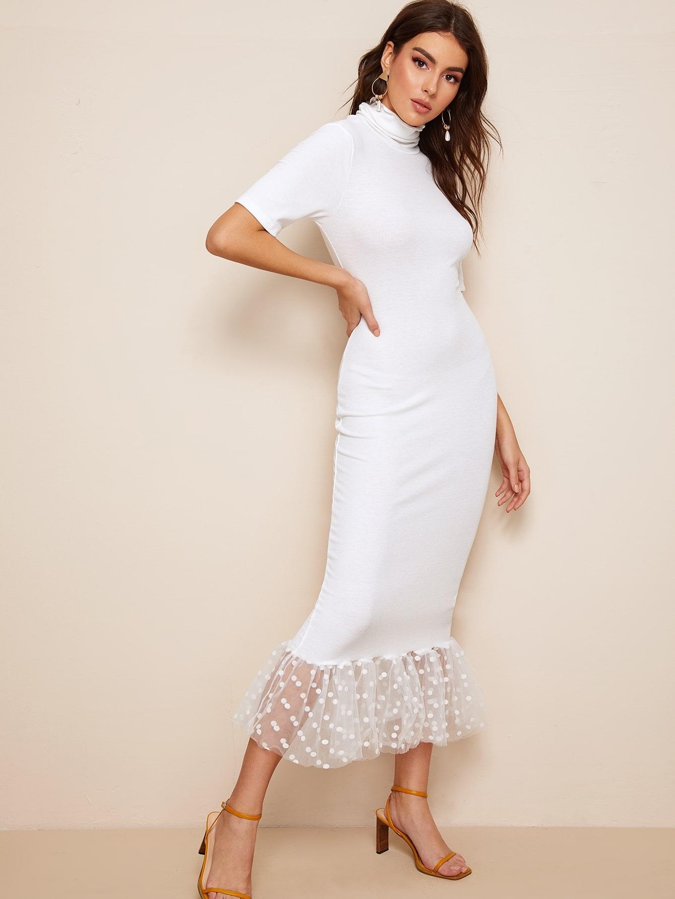 Фото - Приталенное платье-карандаш с высоким воротником от SheIn цвет белые