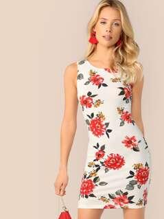 Floral Print Bodycon Tank Dress
