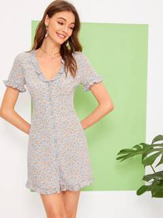 Ditsy Floral Frill Trim Button Up Dress