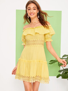 Off Shoulder Lace Insert Ruffle Trim Dress