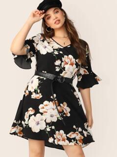 Plus V-neck Flounce Sleeve Floral Print Dress Without Belt