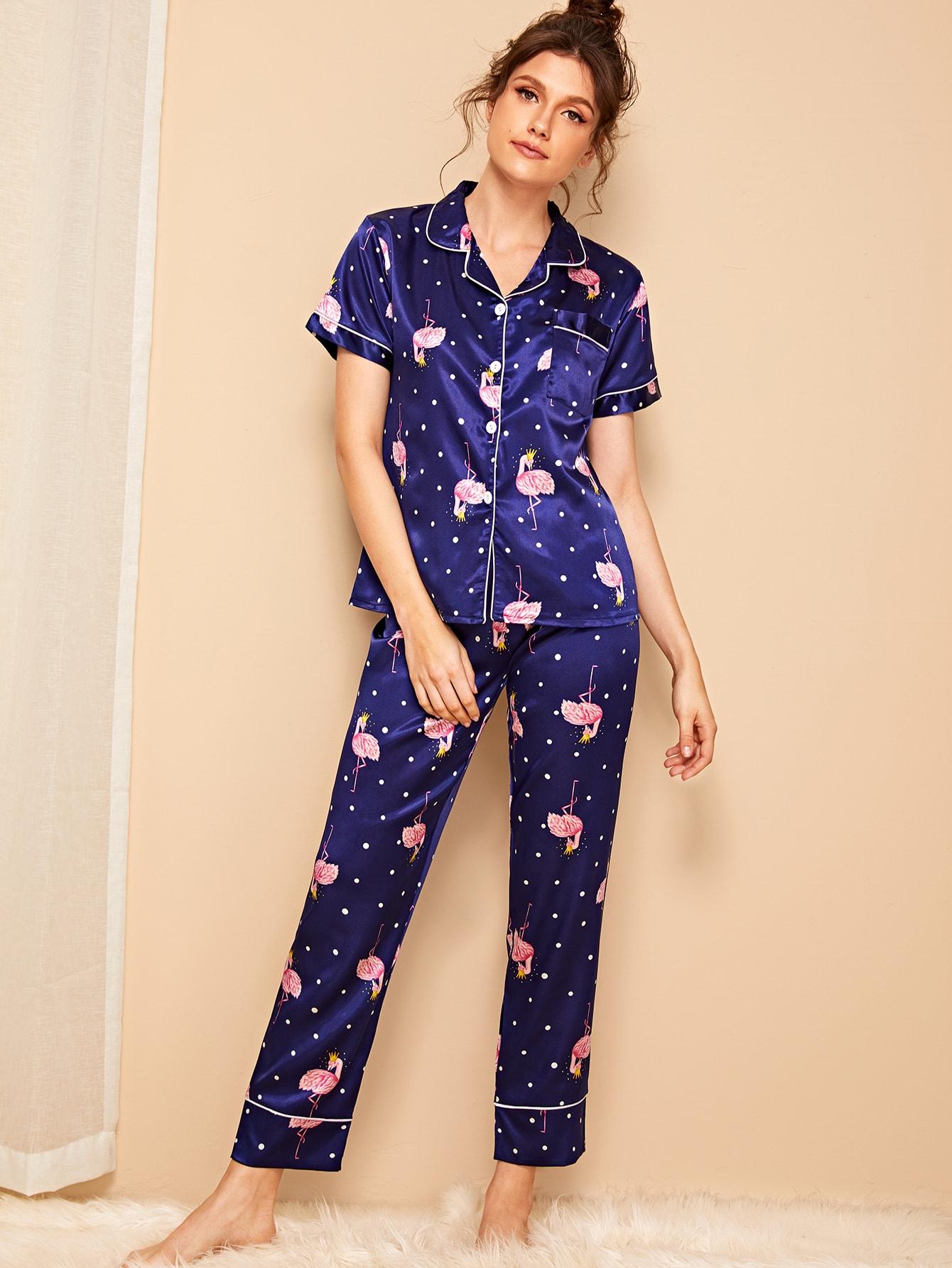 Фото - Атласные пижамы в горошек с принтом от SheIn цвет тёмно-синие