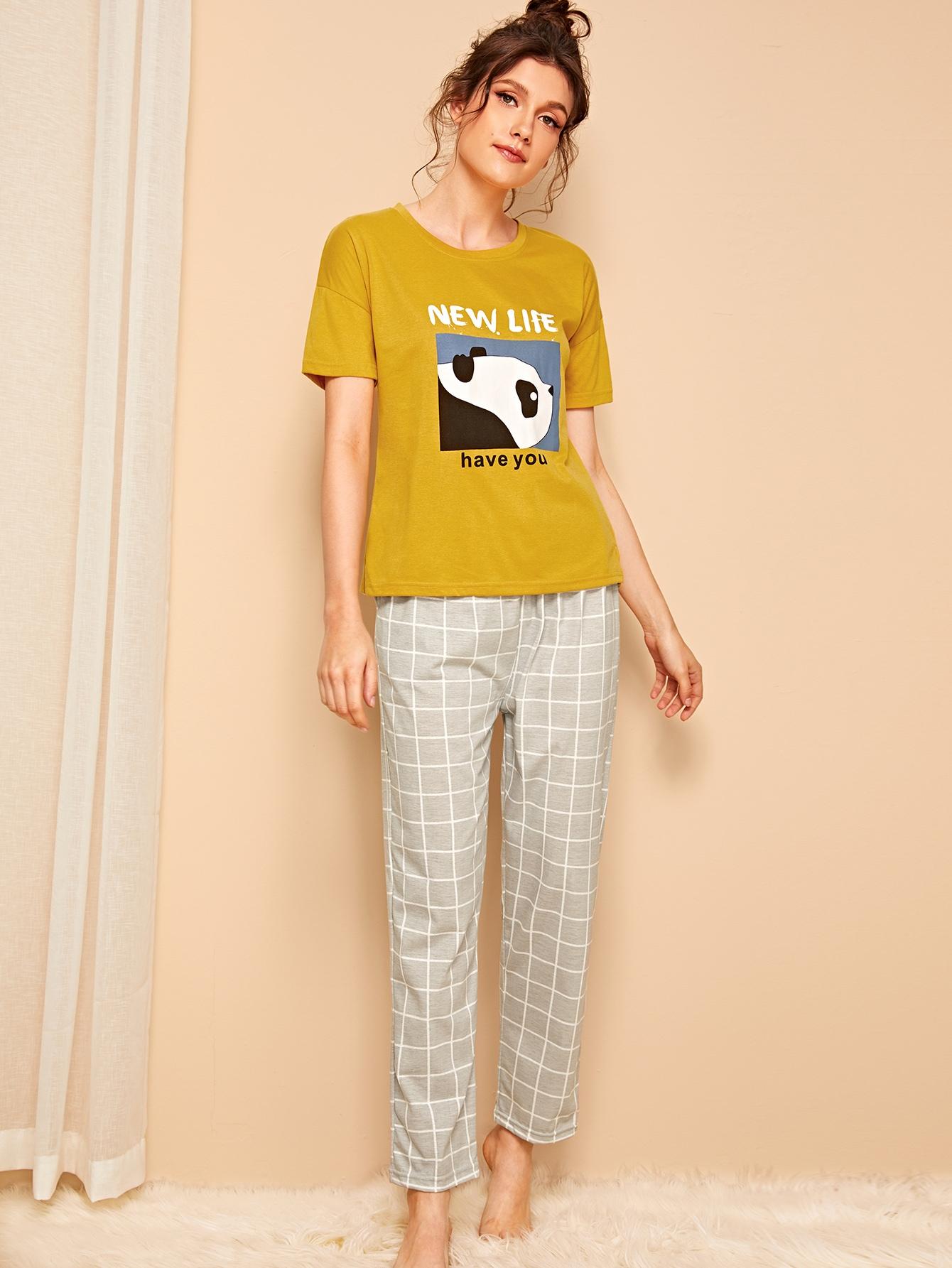 Фото - Пижамы в клетку с оригинальным принтом от SheIn цвет многоцветный