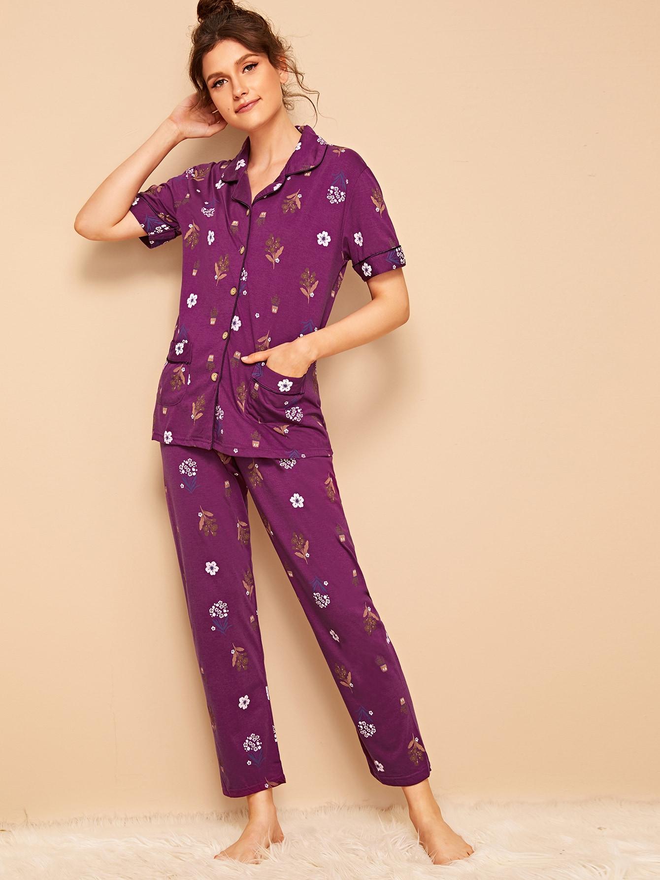 Фото - Пижамы на пуговицах с цвнточным принтом от SheIn цвет фиолетовые