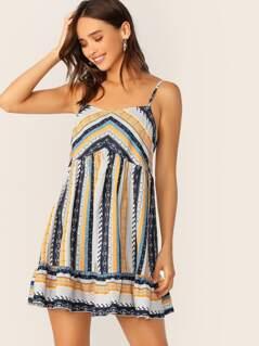 Tribal Print Ruffle Hem Slip Dress