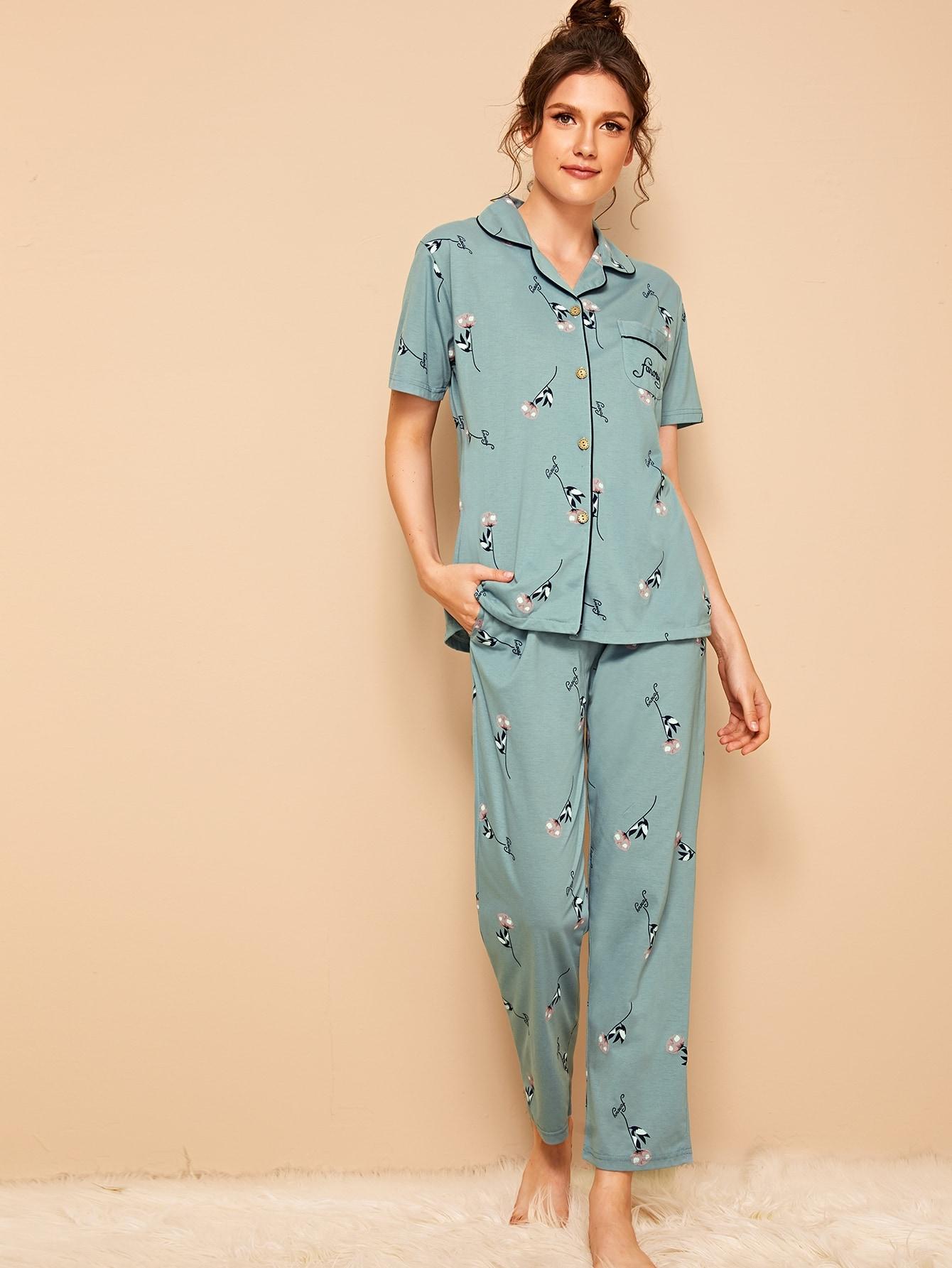 Фото - Пижамы на пуговицах с цвнточным принтом от SheIn цвет синие