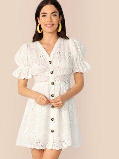 Puff Sleeve Button Up Schiffy Dress