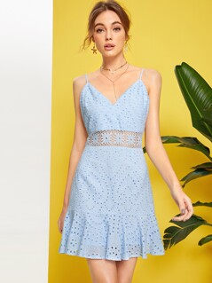 Guipure Lace Insert Ruffle Hem Schiffy Dress