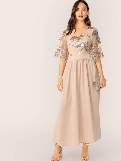 SheIn / V-Neck Contrast Sequin Mesh Sleeve Flare Dress