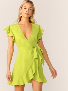 Neon Lime Ruffle Trim Self Tie Wrap Dress
