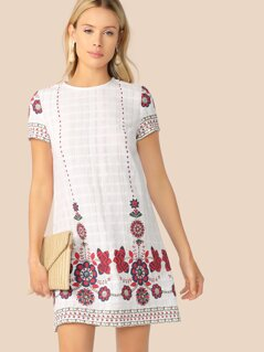 Floral Print Textured Tunic Dress