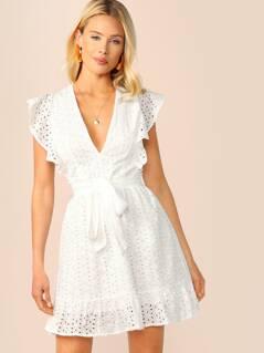 Plunging Neck Ruffle Armhole Schiffy Dress
