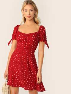 Heart Print Knot Sleeve Button Front Dress