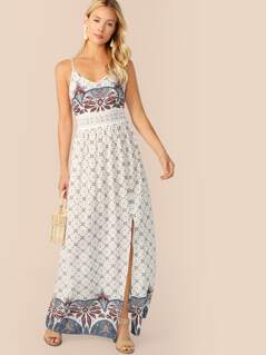 Lace Insert Paisley Print Split Maxi Cami Dress