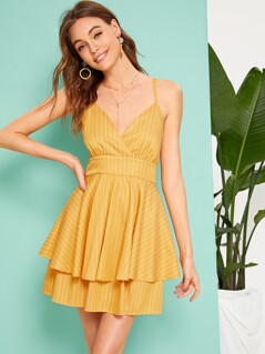High Waist Knot Crisscross Back Layered Ruffle Hem Dress