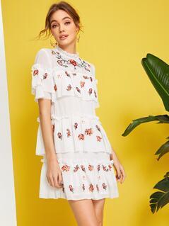 Layered Ruffle Detail Embroidery Floral Chiffon Dress