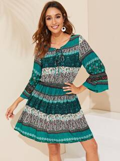 Tie Neck Tribal Print Bell Sleeve Dress