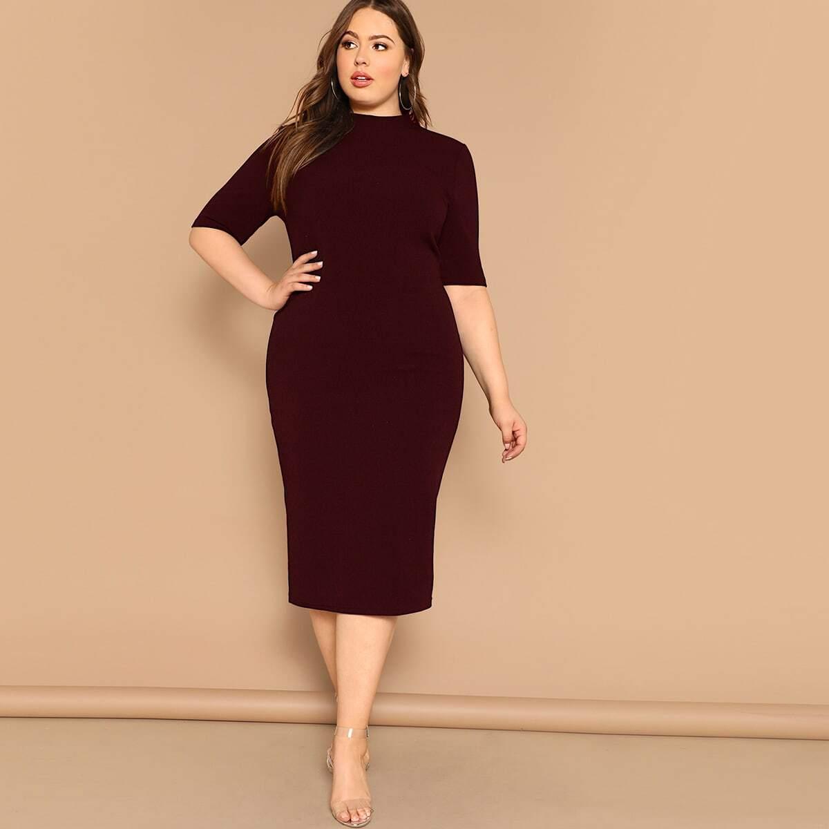 Однотонное платье-карандаш размера плюс с воротником-стойка