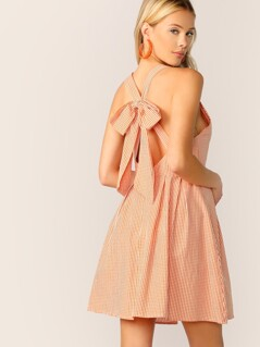 Bow Tie Back Gingham Print Halter Dress