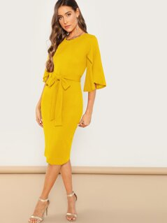 Split Sleeve Belted Pencil Dress