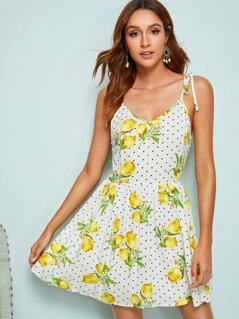 Lemon and Dot Print Self Tie Shoulder Dress