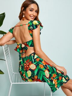 Tied Backless Tropical Print Dress