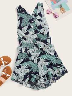 Jungle Leaf Flounce Hem Knotted Romper