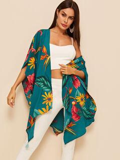 Floral Print Hanky Hem Tassel Detail Kimono