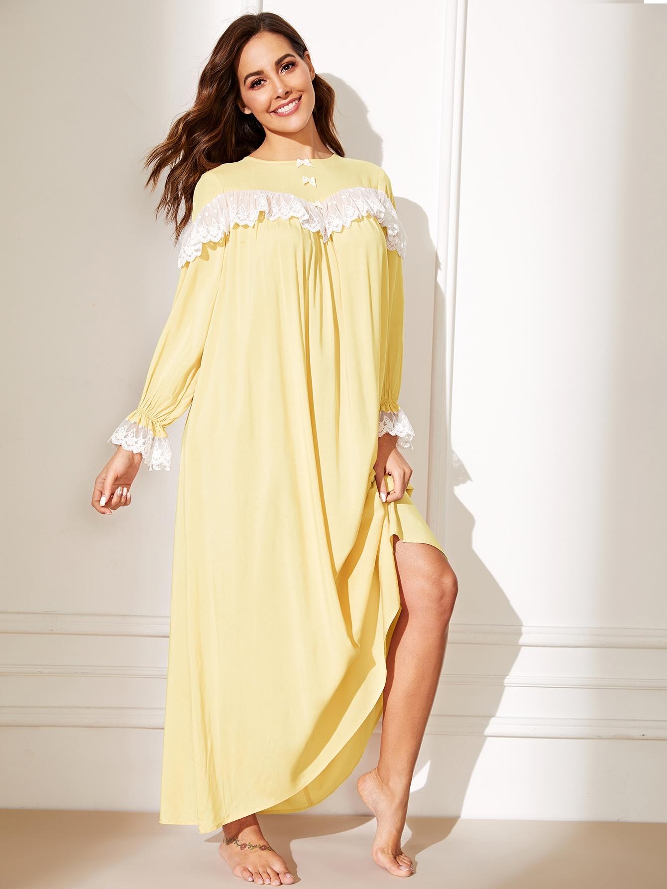 Фото - Длинная ночная рубашка с бантом и кружевом от SheIn цвет жёлтые