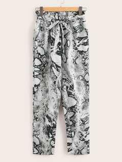 Paperbag Waist Snakeskin Print Pants