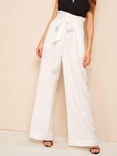 Belted Paperbag Waist Wide Leg Pants