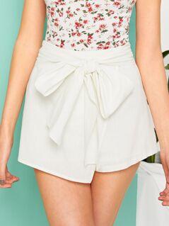 Asymmetrical Hem Tie Waist Wrap Shorts