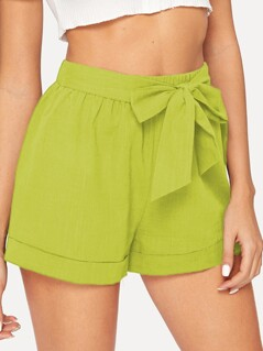 Neon Lime Self Belted Elastic Waist Cuffed Shorts