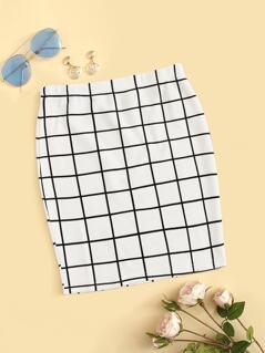 Elastic Waist Grid Bodycon Skirt