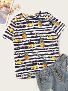 Tropical & Striped Print Tee