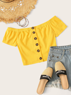 Off Shoulder Button Front Rib-knit Crop Top