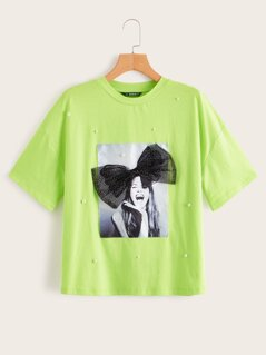 Neon Lime Pearls Beaded Bow Figure Patch Tee