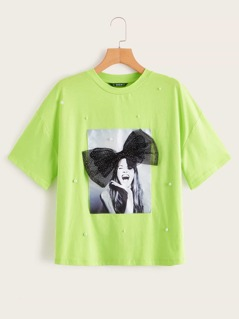 Neon Lime Pearls Beaded Bow Detail Figure Patch Tee