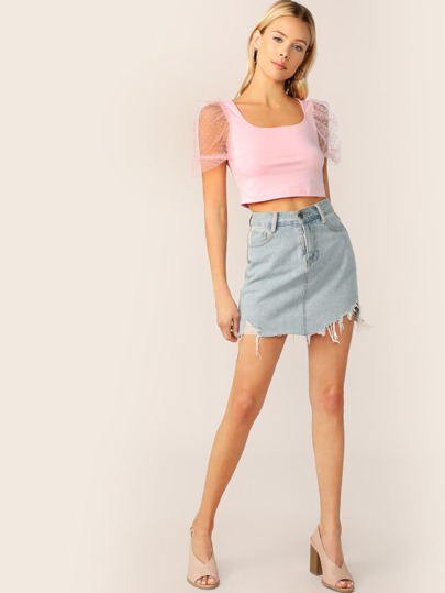 SheIn / Dot Mesh Puff Sleeve Crop Top