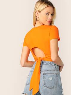 Neon Orange Tie Back Crop Tee