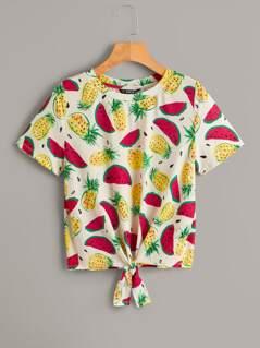 Tie Front Fruit Print Tee
