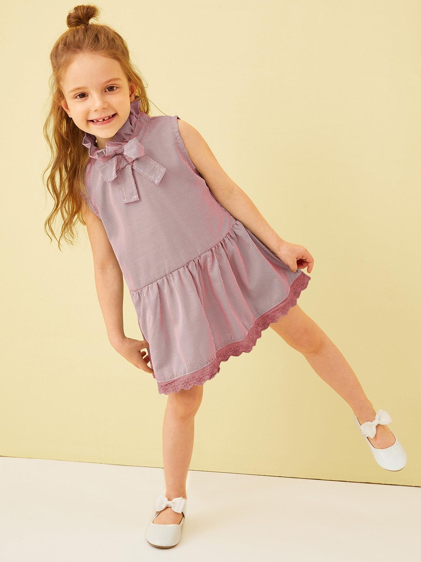 Фото - Стильное платье с кружевной отделкой для девочек от SheIn цвет бургундия