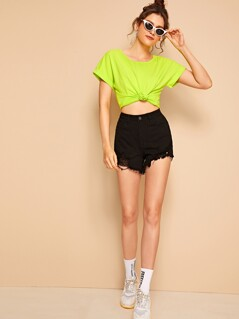 Neon Lime Roll Tab Sleeve Top