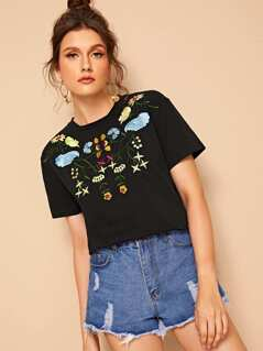 Botanical Embroidered Detail Tee