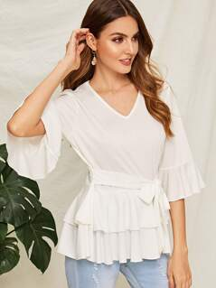 V Neck Layered Ruffle Hem Belted Top