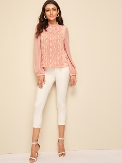 Guipure Lace Detail Mock Neck Lantern Sleeve Blouse