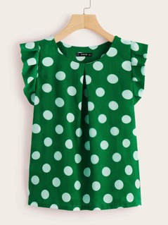 Ruffle Trim Fold Pleat Polka Dot Top