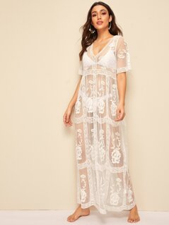 Sheer Mesh Embroidered Flower Cover Up