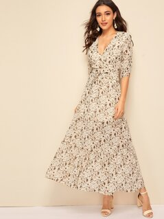 Wrap Surplice Floral Print Self Belted Dress